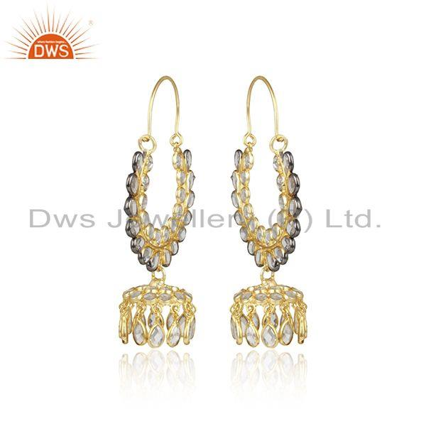 Designer of Cz gemstone traditional gold plated silver jhumka design earrings