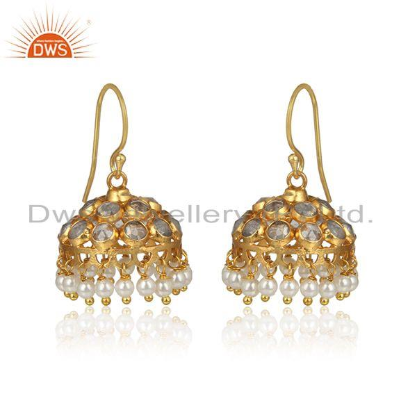 Designer of Cz pearl gemstone gold plated designer 925 silver jhumka earrings