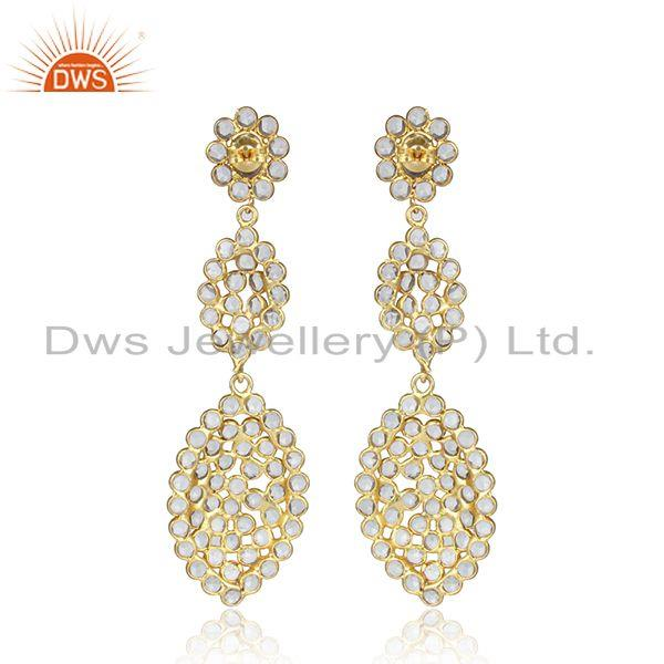 Designer of Handmade gold over silver white zircon gemstone dangle earrings