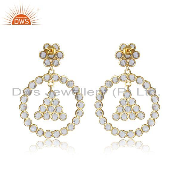 Designer of Floral round design gold plated 925 silver white zircon earrings