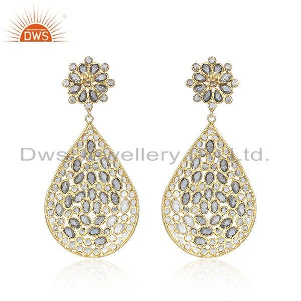 Designer of Traditional gold plated 925 silver white zircon gemstone earrings