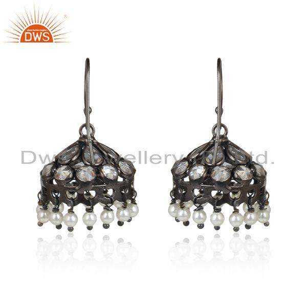 Designer of Natural pearl cz gemstone oxidized antique silver jhumka earrings