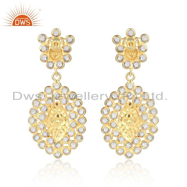 Designer of Marquise shape gold plated silver cz gemstone designer earrings