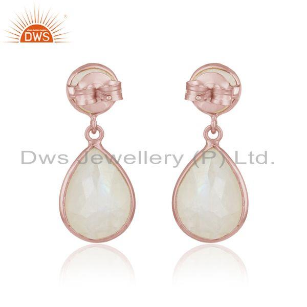 Designer of Dangle earriing in rose gold on silver 925 with rainbow moonstone