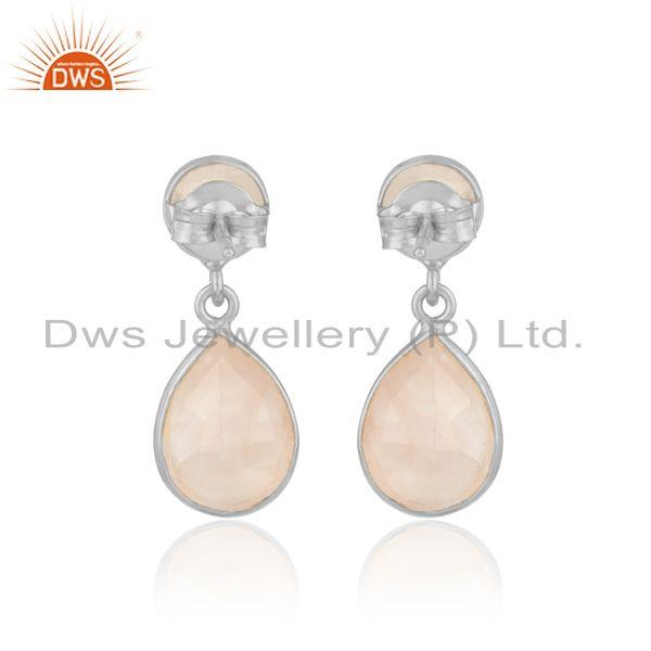 Designer of Handcrafted dangle earriing in silver 925 adorn with rose quartz