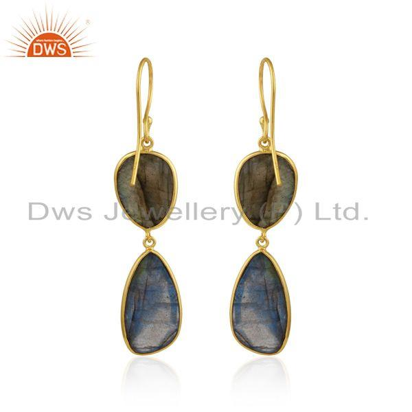 Designer of Labradorite double drop dangle earring in yellow gold on silver