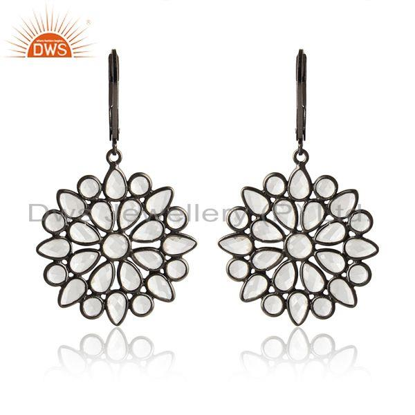 Designer of Cz cluster earring in black rhodium on silver lever back closure