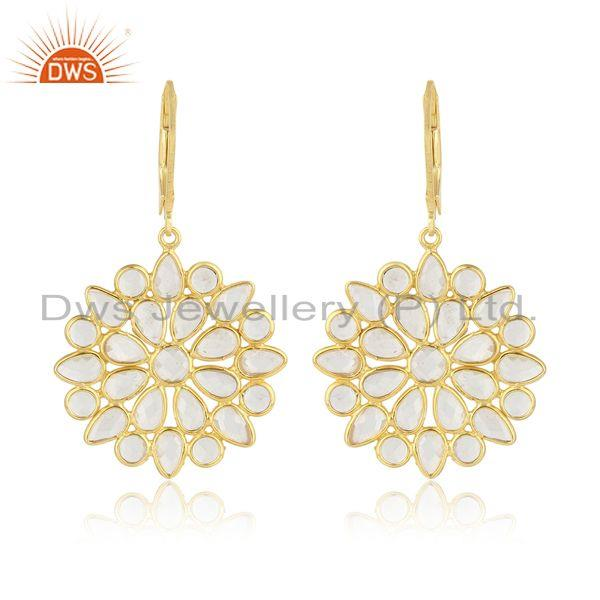 Designer of Cz cluster earring in yellow gold on silver 925 lever back closure