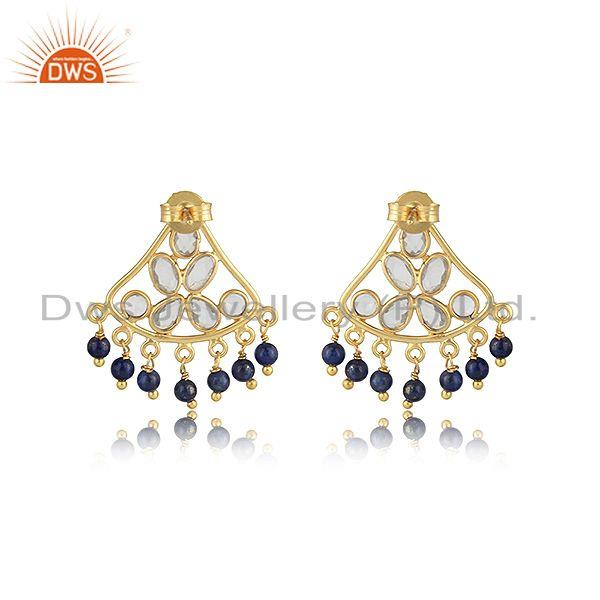 Designer of Traditional designer earring in gold on silver with lapis and cz