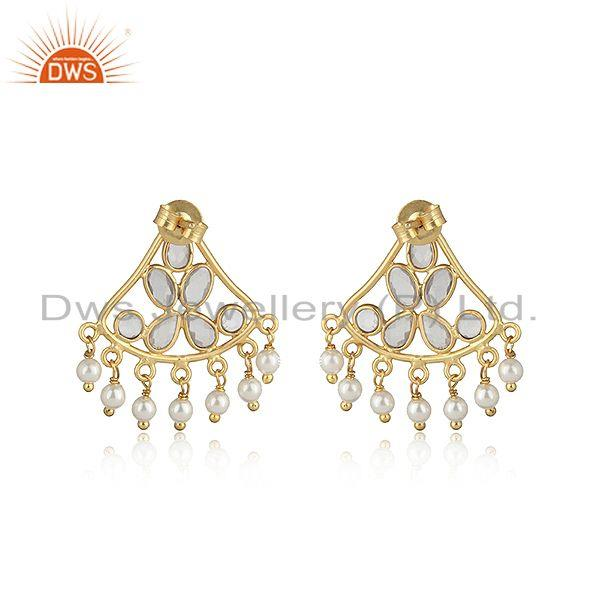 Designer of Traditional designer earring in gold on silver with pearl and cz