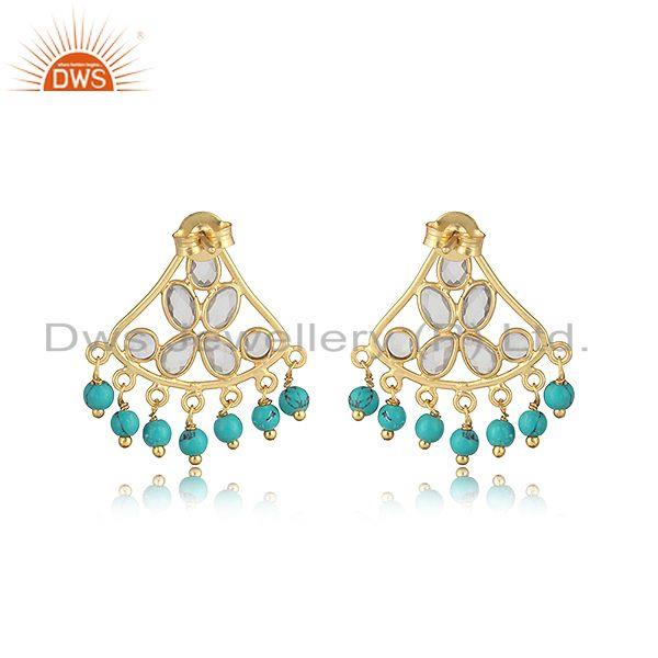 Designer of Traditional designer earring in gold on silver with turquoise, cz