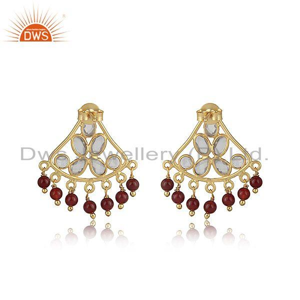 Designer of Traditional designer red onyx and cz earring in gold on silver