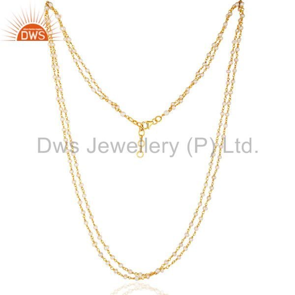 Suppliers 14K Gold Plated Sterling Silver Pearl Beaded Double Strand Necklace