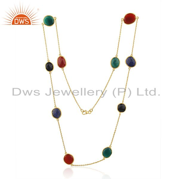 Suppliers Onyx Multi Onyx Long Chain Station Gold Plated 92.5 Sterling Silver Necklace
