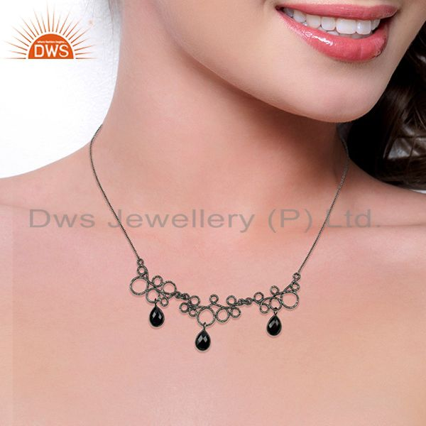 Suppliers Black Oxidized 925 Sterling Silver Natural Black Onyx Gemstone Chain Necklace
