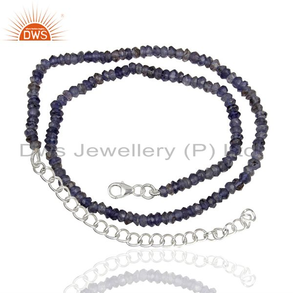 Suppliers Iolite Gemstone Design Gold Plated Silver Necklace Jewelry Manufacture