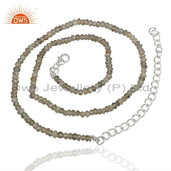 Suppliers Gray Moonstone Sterling Silver Fashion Chain Necklace Manufacturer