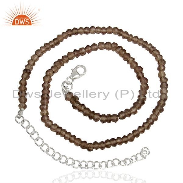 Suppliers Smoky Quartz Gemstone Beads Supplier Silver Chain Necklace Jewelry