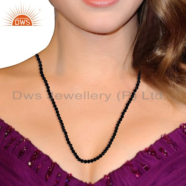 Suppliers Black Onyx 4 MM Faceted Beads 24 Inch Sterling Silver Necklace