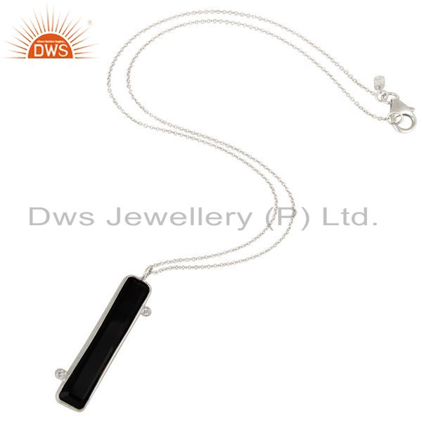 Suppliers 925 Sterling Silver Black Onyx Gemstone Pendant With Chain Necklace