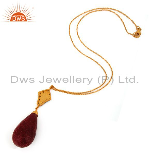Suppliers 18K Yellow Gold Plated Sterling Silver Dyed Ruby Gemstone Drop Pendant With Chai
