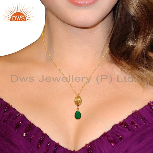 Suppliers 18K Yellow Gold Plated Sterling Silver Green Onyx Drop Pendant With 16