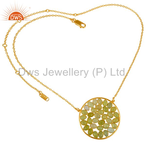 Suppliers 18K Yellow Gold Plated Sterling Silver Dyed Aqua Chalcedony Pendant Necklace