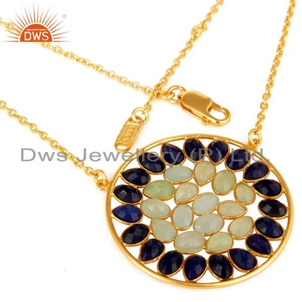 Suppliers 18K Yellow Gold Plated Sterling Silver Prehnite Chalcedony Sapphire Necklace