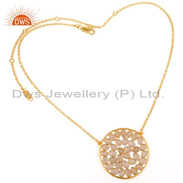 Suppliers 18K Yellow Gold Plated Sterling Silver Dyed Rose Chalcedony Pendant Necklace