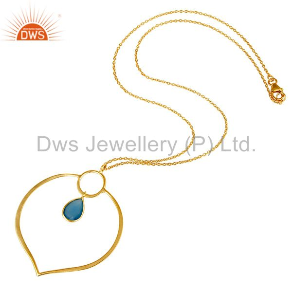 Suppliers 18K Gold PLated Sterling Silver Simple Set Pendant Necklace with Chalcedony