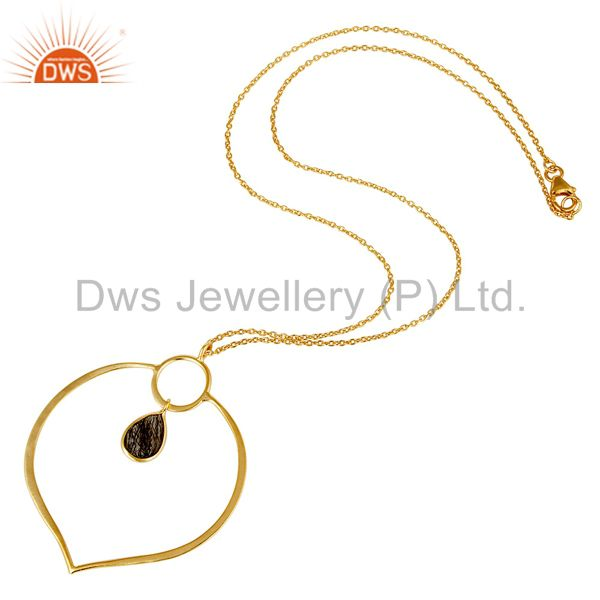 Suppliers 18K Gold PLated Sterling Silver Simple Set Pendant Necklace with Black Routile