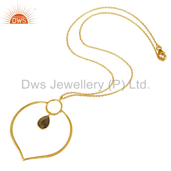 Suppliers 18K Gold PLated Sterling Silver Simple Set Pendant Necklace with Labradorite