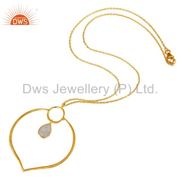 Suppliers 18K Gold PLated Sterling Silver Simple Set Pendant Necklace with Moonstone