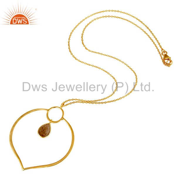 Suppliers 18K Gold PLated Sterling Silver Simple Set Pendant Necklace with Rutile