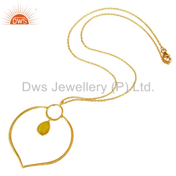 Suppliers 18K Gold PLated Sterling Silver Simple Pendant Chain Necklace with Chalcedony