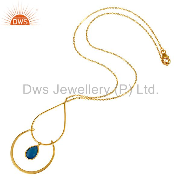 Suppliers Chalcedony With 18K Gold PLated Sterling Silver Simple Pendant Chain Necklace