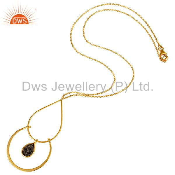 Suppliers Chalcedony With 18K Gold PLated 925 Sterling Silver Pendant Chain Necklace