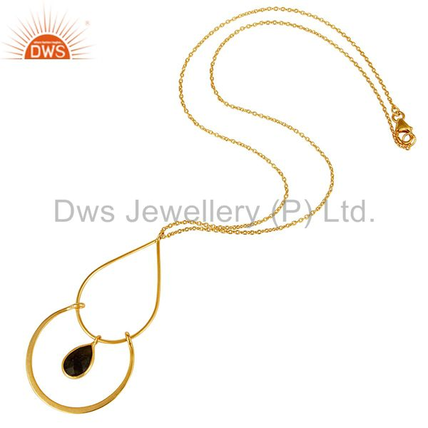 Suppliers Traditional 18K Gold PLated 925 Sterling Silver Pendant Chain Necklace With Lab
