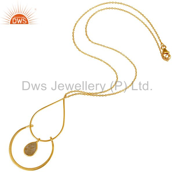 Suppliers Traditional 18K Gold PLated 925 Sterling Silver Pendant Chain With Routile