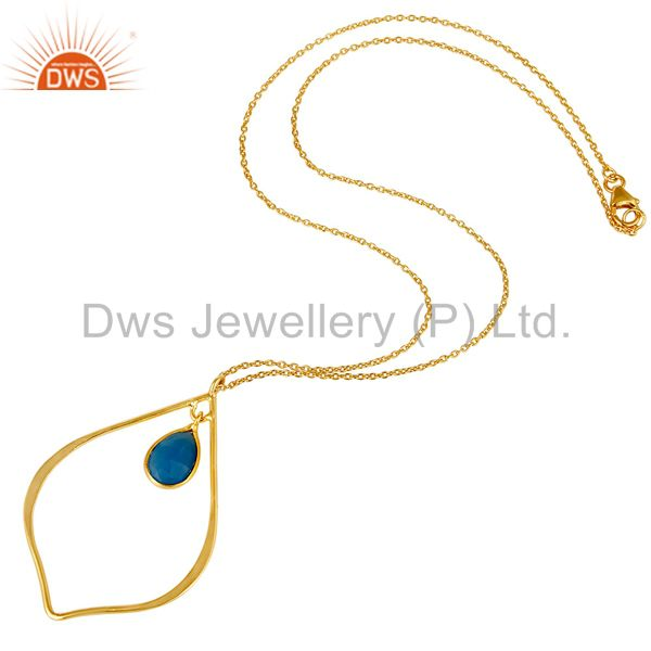 Suppliers Traditional Design 18K Gold PLated Sterling Silver Pendant Necklace Chalcedony