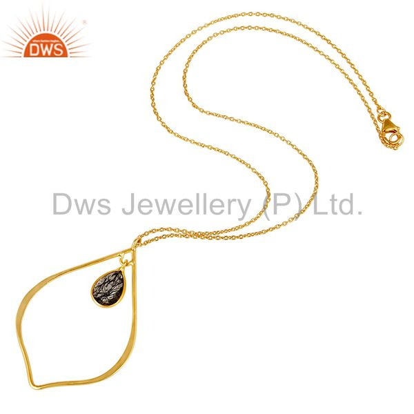 Suppliers Designer 18K Gold PLated Sterling Silver Pendant ChainNecklace Routile