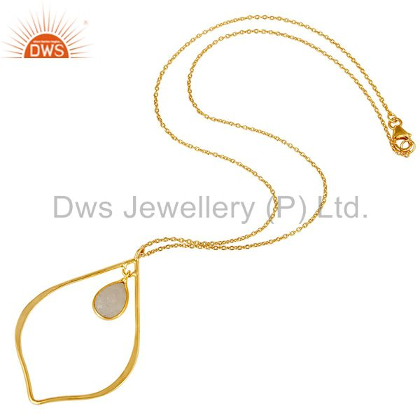 Suppliers Moonstone 18K Gold PLated Sterling Silver Pendant Chain Necklace