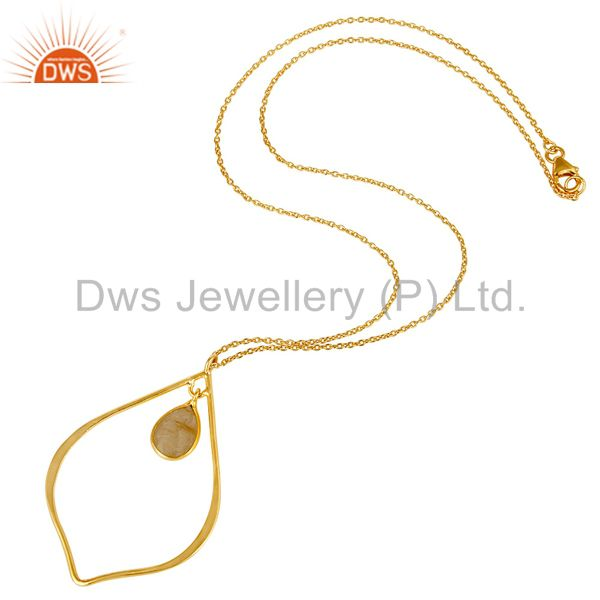 Suppliers Rutile 18K Gold Plated Sterling Silver Pendant Chain Necklace