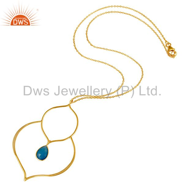 Suppliers 18K Gold PLated Sterling Silver Bazel Set Pendant Chain Necklace with Chalcedony