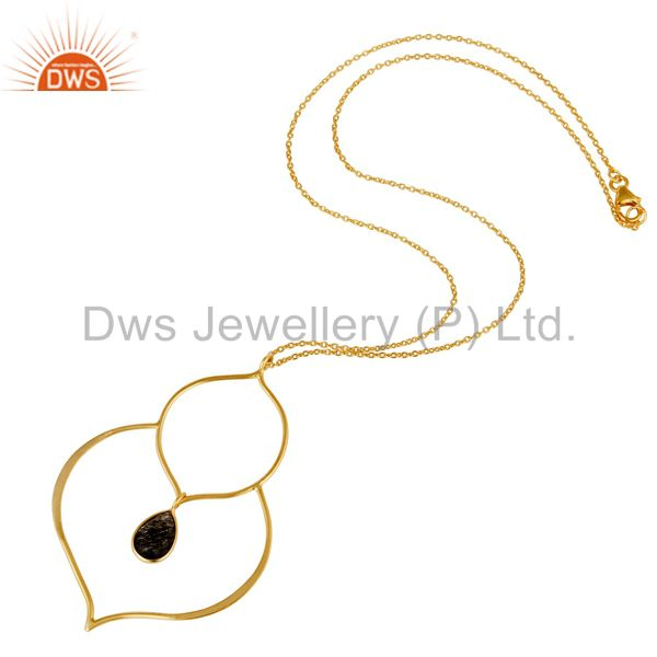 Suppliers 18K Gold PLated Sterling Silver Bazel Set Pendant Chain Necklace with Routile