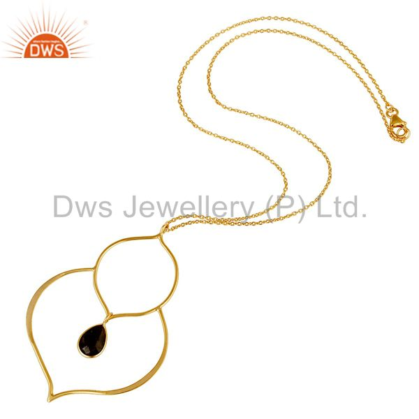 Suppliers 18K Gold PLated Sterling Silver Set Pendant Chain Necklace with Labradorite
