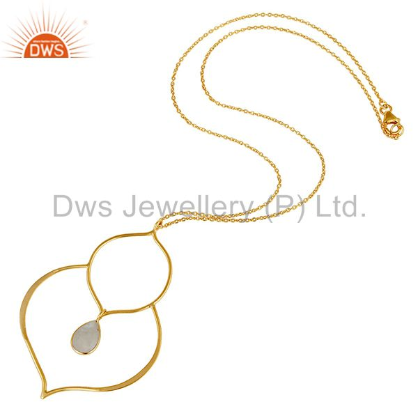 Suppliers 18K Gold PLated Sterling Silver Set Pendant Chain Necklace with Moonstone
