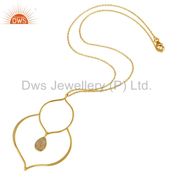 Suppliers 18K Gold PLated Sterling Silver Set Pendant Chain Necklace with Rutile