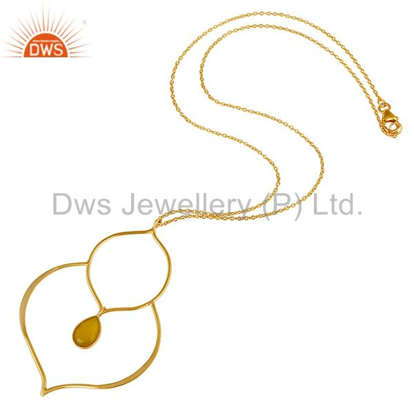 Suppliers 18K Gold PLated Sterling Silver Set Pendant Chain Necklace with Chalcedony