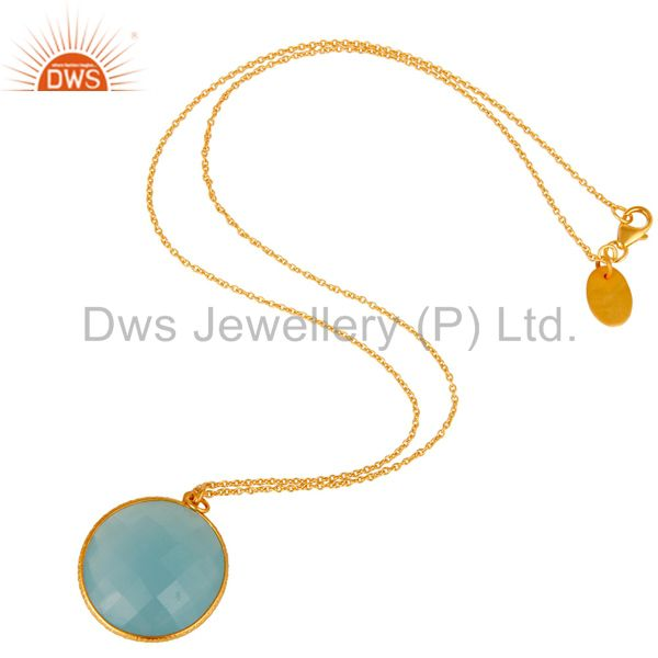 Suppliers 18K Gold Plated 925 Sterling Silver Cultured Aqua Stone Bezel Set Chain Pendant